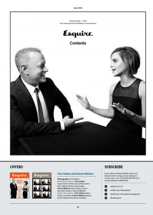 Emma Watson and Tom Hanks - Esquire UK Magazine (April 2016) adds