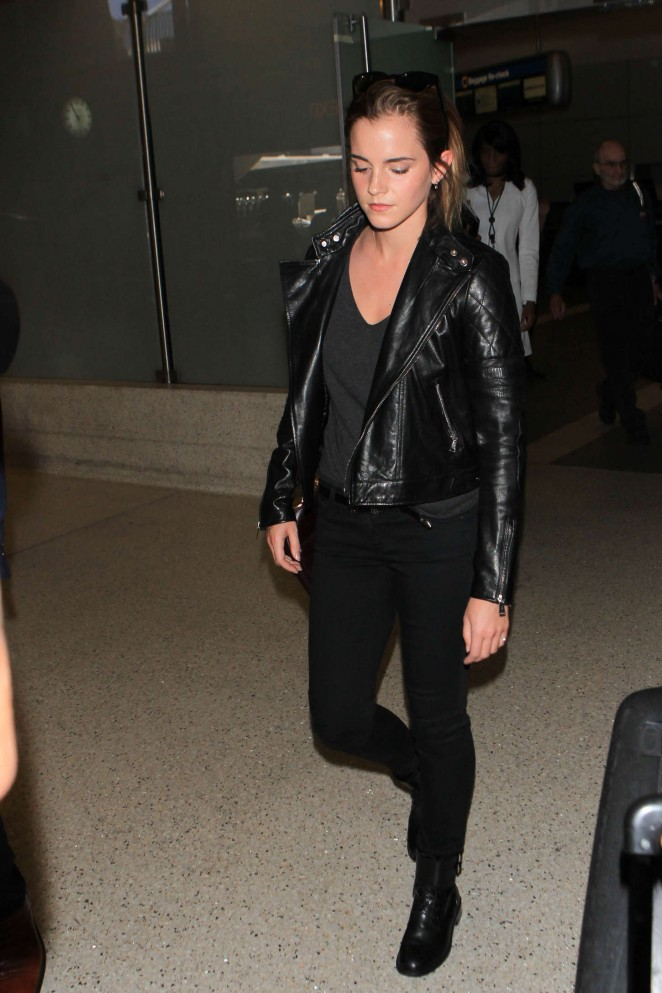 Emma Watson in Tight Jeans at LAX Airport in LA