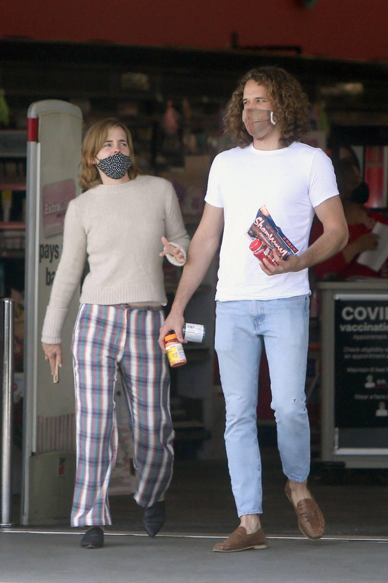 Emma Watson 2021 : Emma Watson – Dons pyjama-style with boyfriend Leo Robinton stop by a CVS in Los Angeles-02