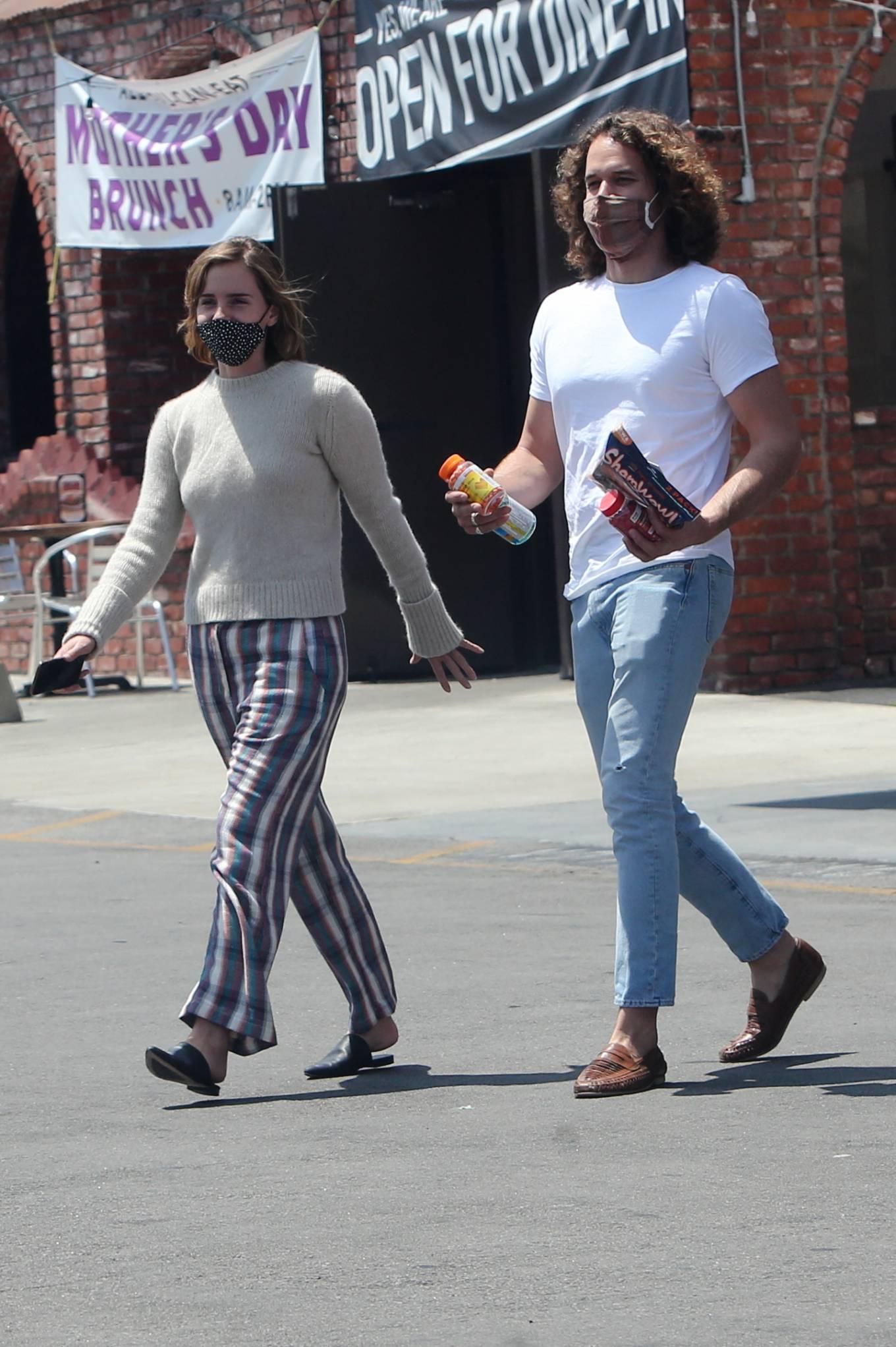 Emma Watson 2021 : Emma Watson – Dons pyjama-style with boyfriend Leo Robinton stop by a CVS in Los Angeles-05