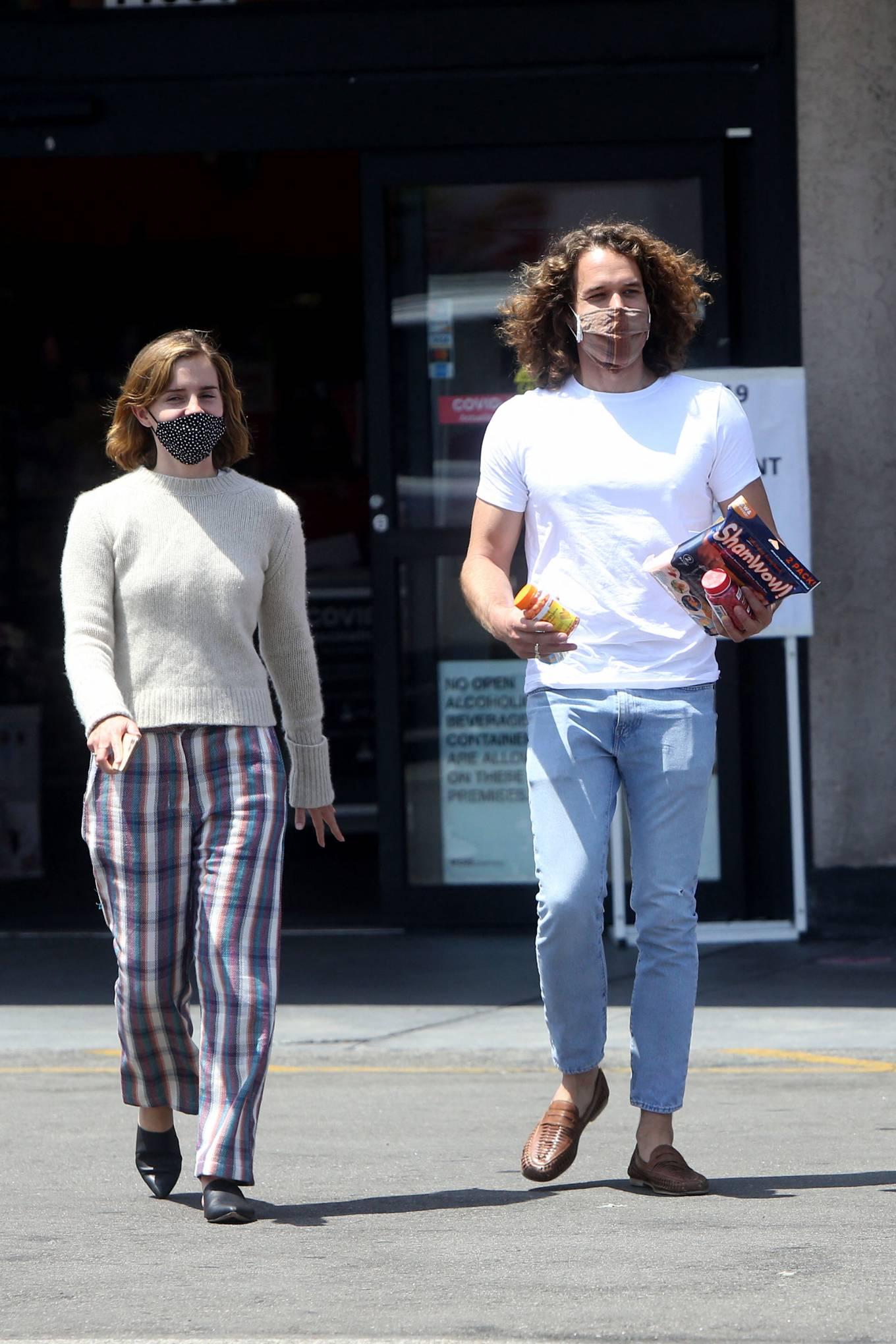 Emma Watson 2021 : Emma Watson – Dons pyjama-style with boyfriend Leo Robinton stop by a CVS in Los Angeles-08