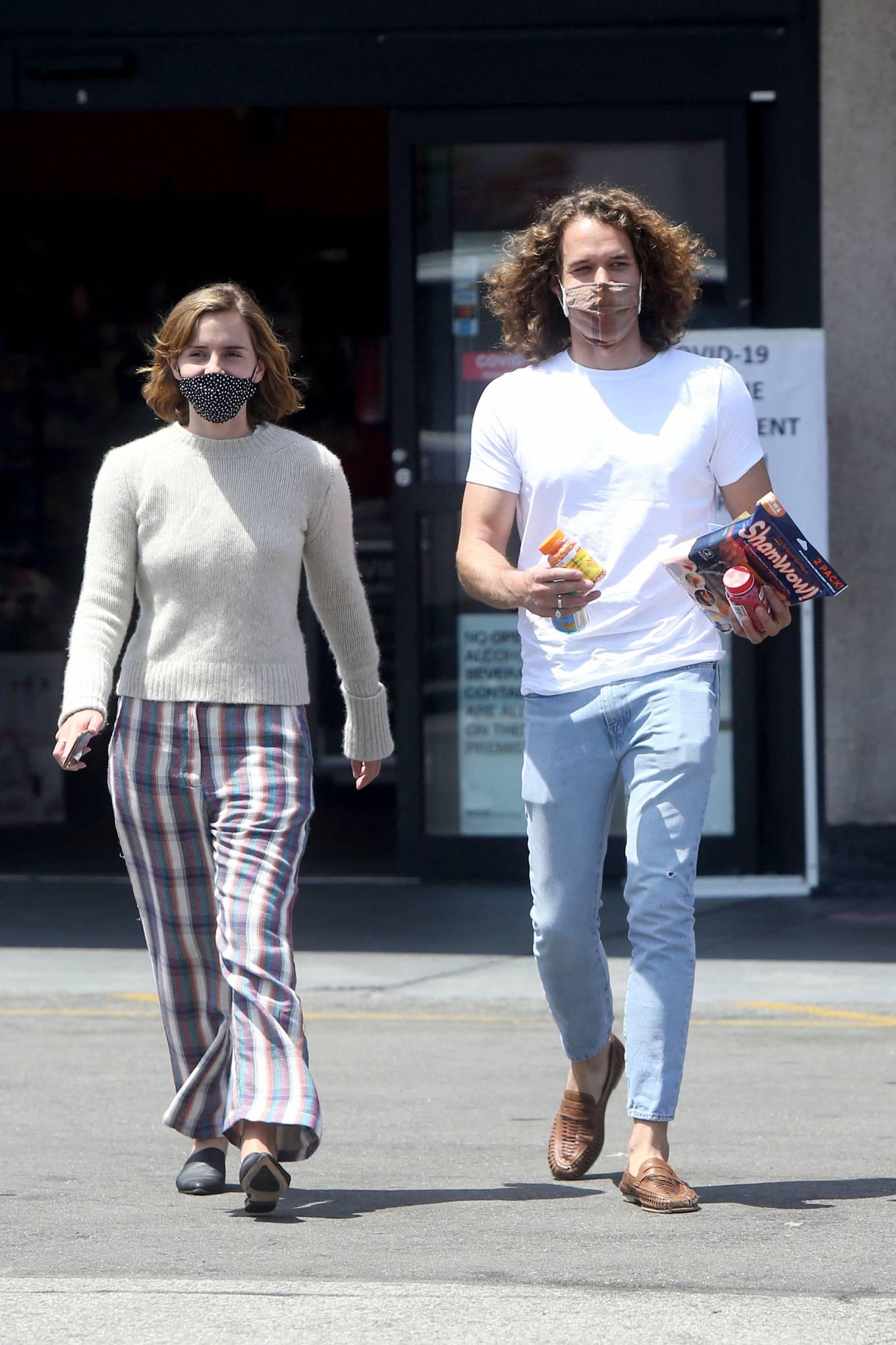 Emma Watson 2021 : Emma Watson – Dons pyjama-style with boyfriend Leo Robinton stop by a CVS in Los Angeles-09