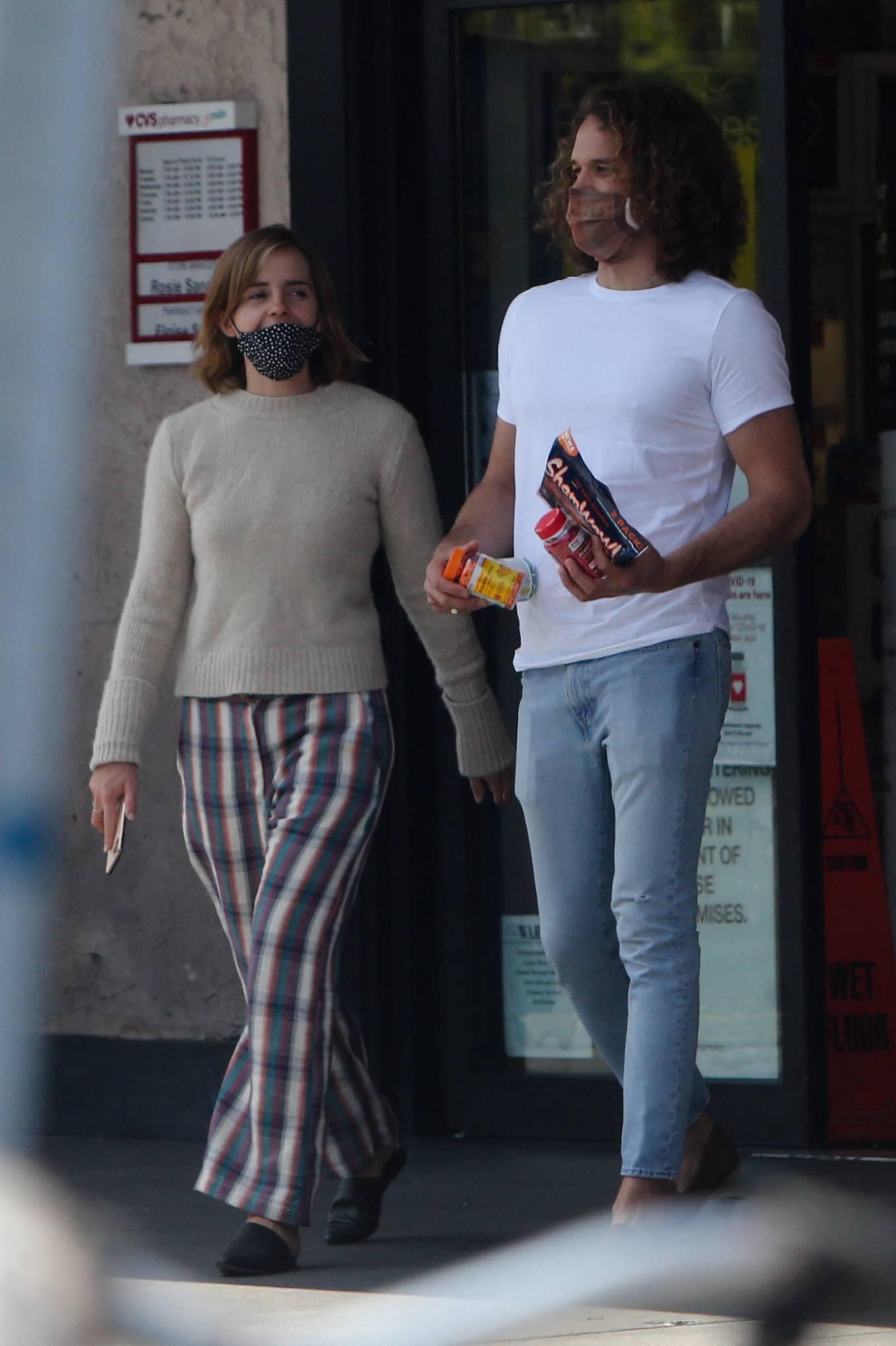 Emma Watson 2021 : Emma Watson – Dons pyjama-style with boyfriend Leo Robinton stop by a CVS in Los Angeles-11