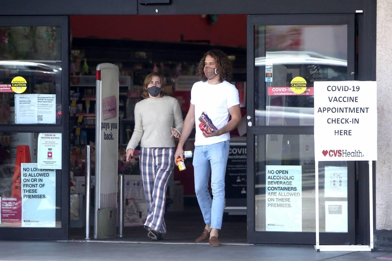 Emma Watson 2021 : Emma Watson – Dons pyjama-style with boyfriend Leo Robinton stop by a CVS in Los Angeles-14