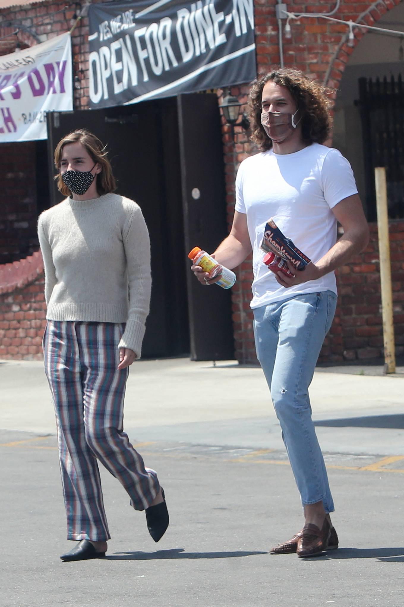 Emma Watson 2021 : Emma Watson – Dons pyjama-style with boyfriend Leo Robinton stop by a CVS in Los Angeles-18