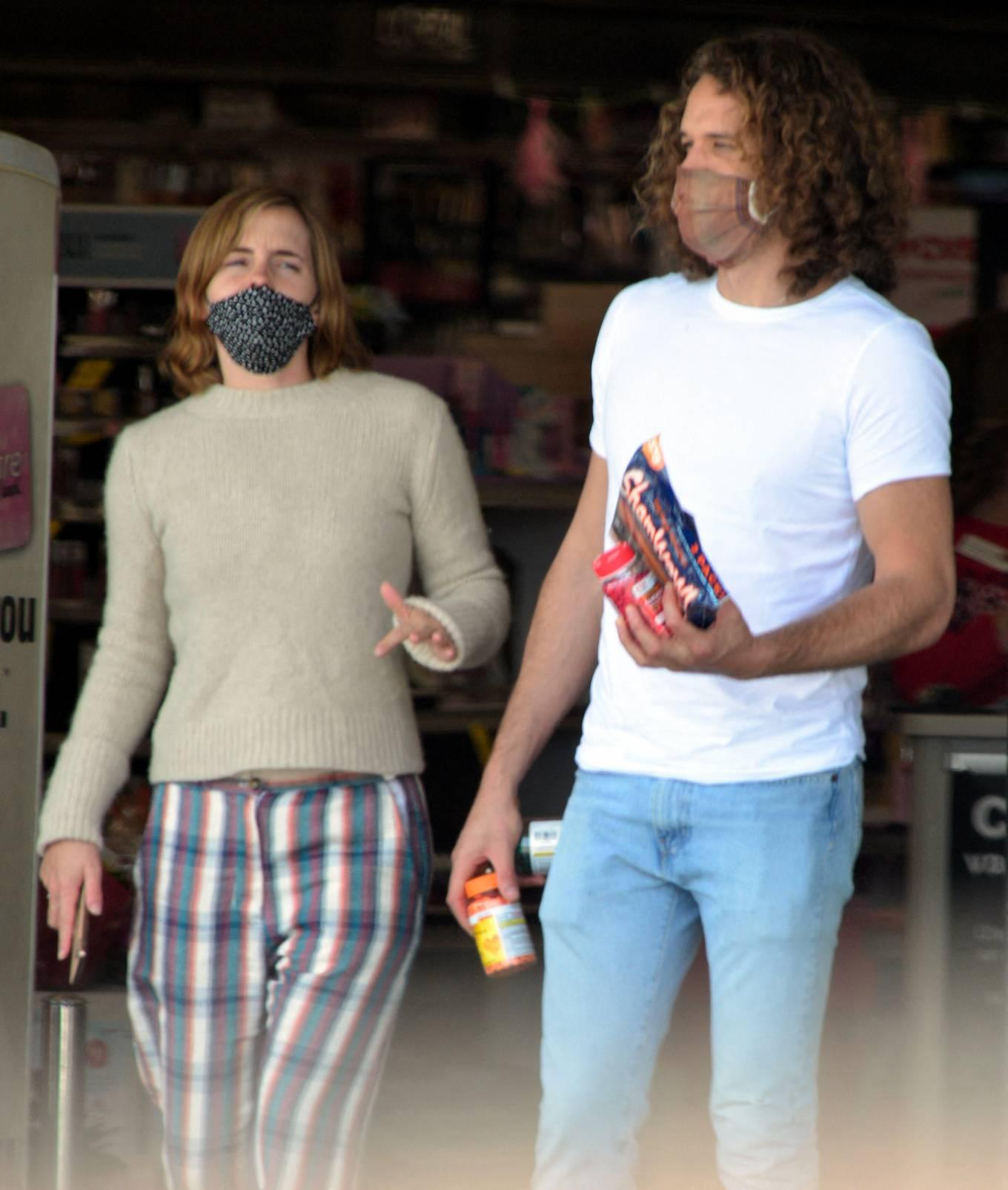 Emma Watson 2021 : Emma Watson – Dons pyjama-style with boyfriend Leo Robinton stop by a CVS in Los Angeles-25