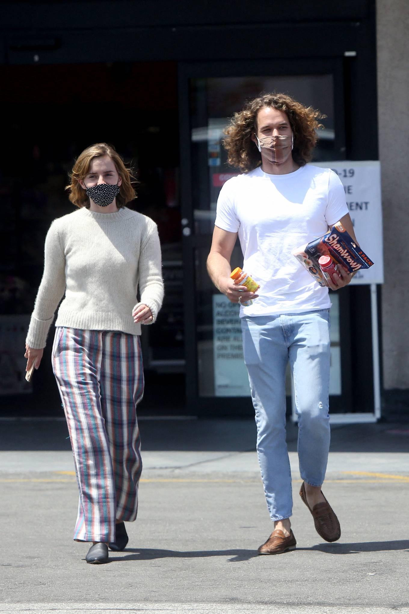 Emma Watson 2021 : Emma Watson – Dons pyjama-style with boyfriend Leo Robinton stop by a CVS in Los Angeles-26