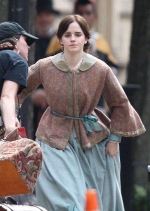 Emma Watson - Filming 'Little Women' in Boston