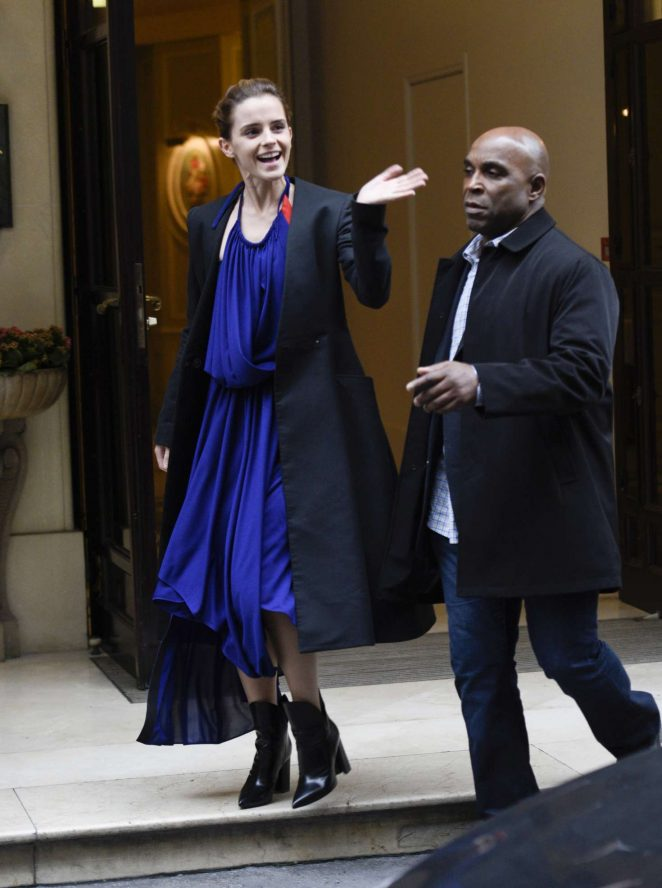 Emma Watson in Blue Dress Leaving her hotel in Paris