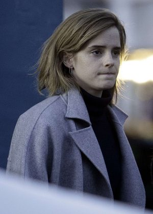 Emma Watson in Gray Coat Out in London