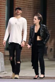 Emma Watson in Leather Jacket - Out in New York