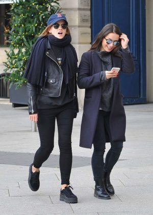 Emma Watson in Leather Jacket Out in Paris