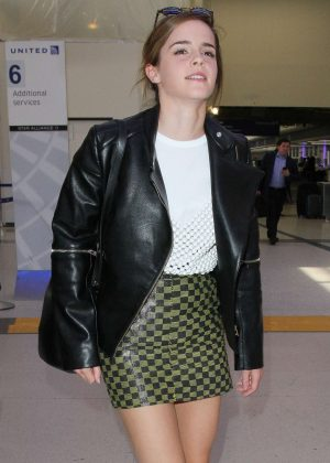 Emma Watson in Mini Skirt at LAX Airport in Los Angeles