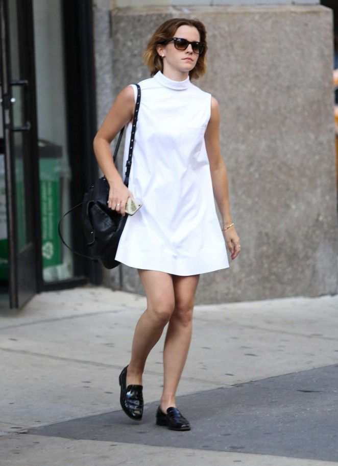 Emma Watson in White Mini Dress Out in New York