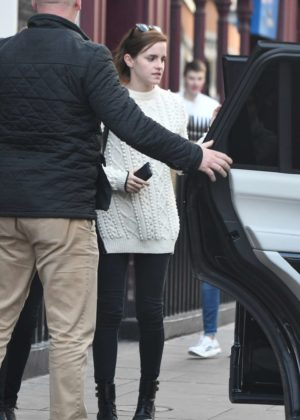 Emma Watson - Leaves a restaurant with a friend in London