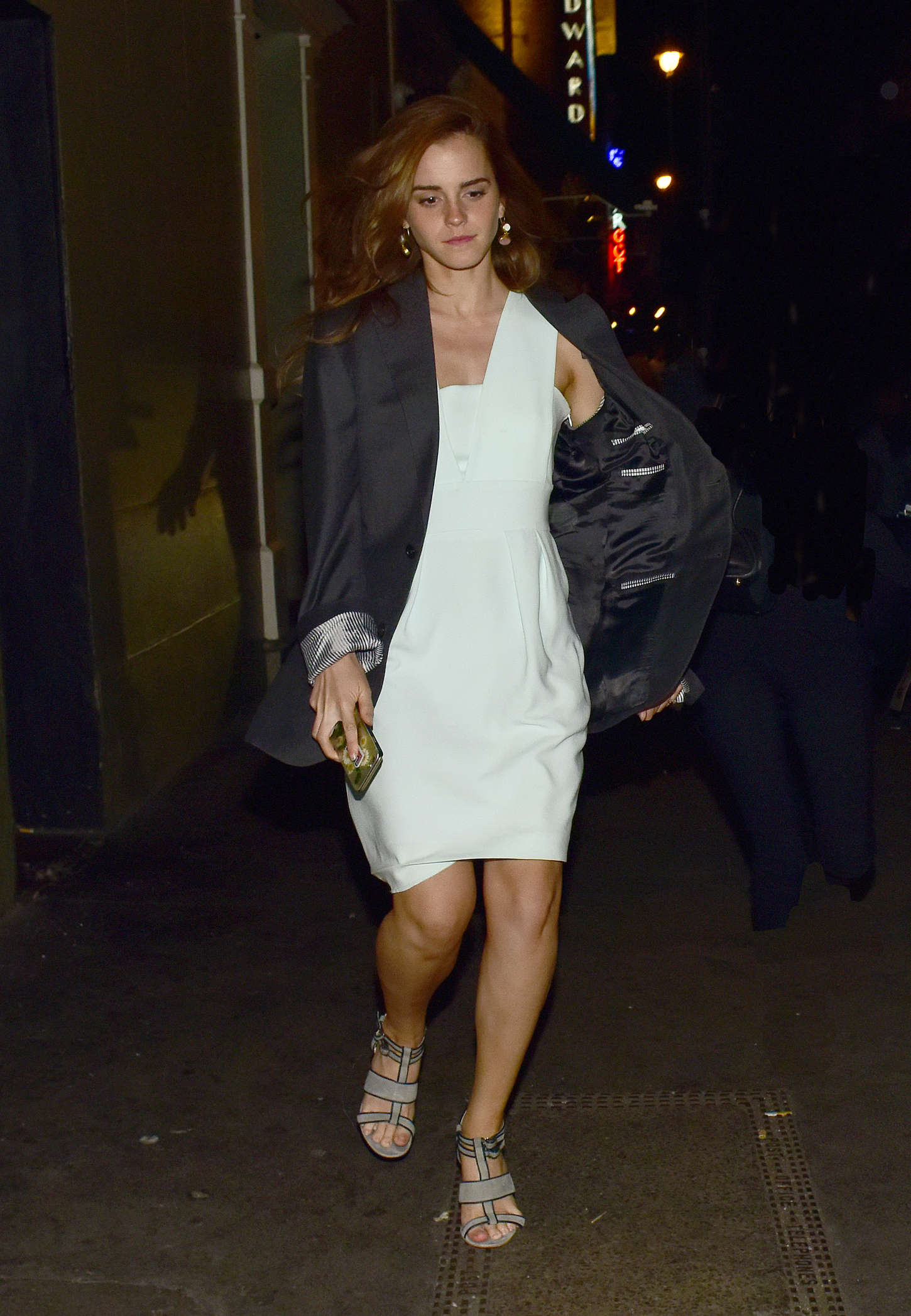 Emma Watson in Mini Dress Out in London