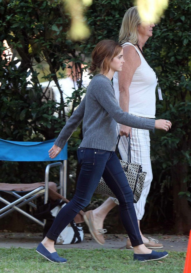 Emma Watson in Tight Jeans On 'The Circle' set in LA