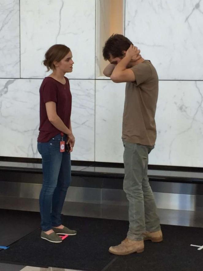 Emma Watson in Jeans on 'The Circle' Set in LA
