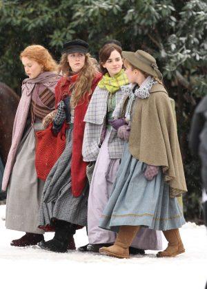 Emma Watson, Saoirse Ronan, Florence Pugh and Eliza Scanlen - Filming 'Little Women' Set in Cambridge