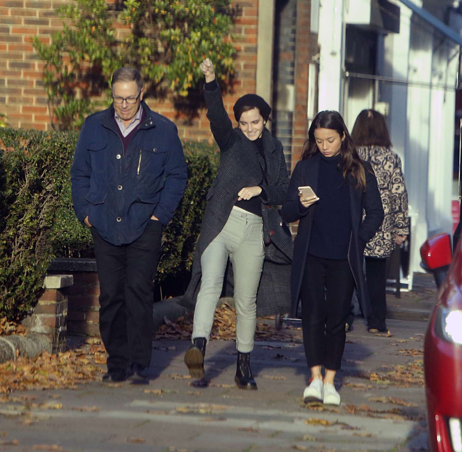 Emma Watson with friends out in North London