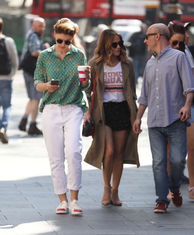 Emma Willis and Caroline Flack out in London