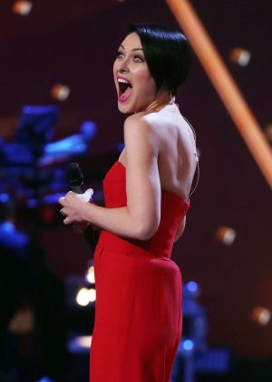 Emma Willis at 'The Voice' TV show in London