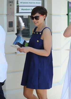 Emma Willis in Blue Mini Dress at Wimbledon in London
