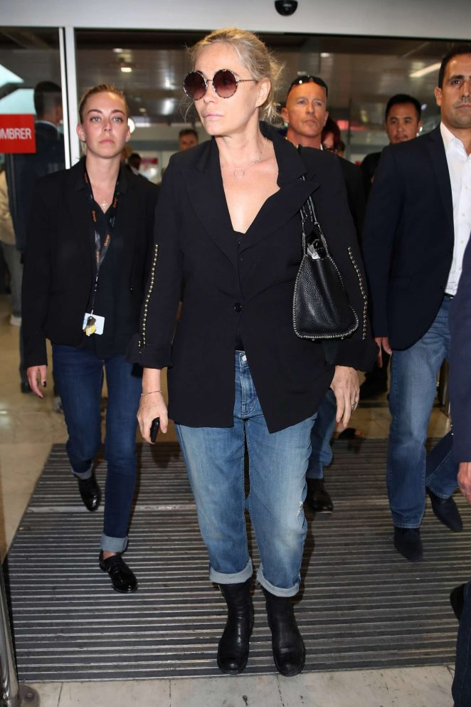 Emmanuelle Beart Arriving at Airport in Nice -04