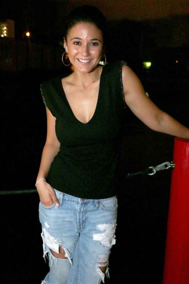 Emmanuelle Chriqui in Ripped Jeans at Seaspice in Miami