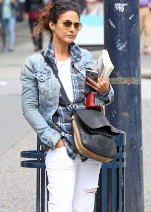 Emmanuelle Chriqui in Ripped Jeans out in Vancouver