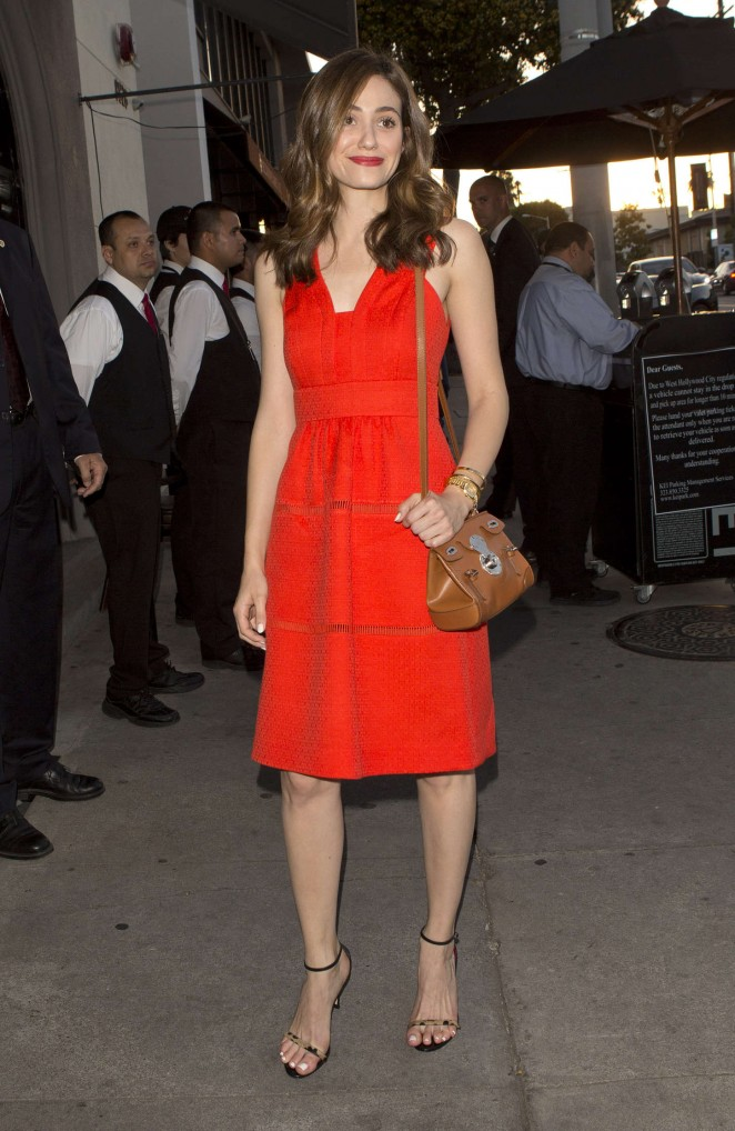 Emmy Rossum in Red Dress at Craigs's in West Hollywood