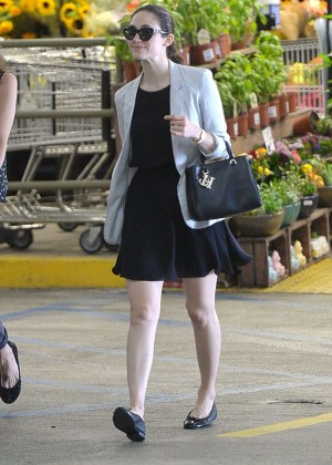 Emmy Rossum in Mini Dress at Whole Foods in Beverly Hills