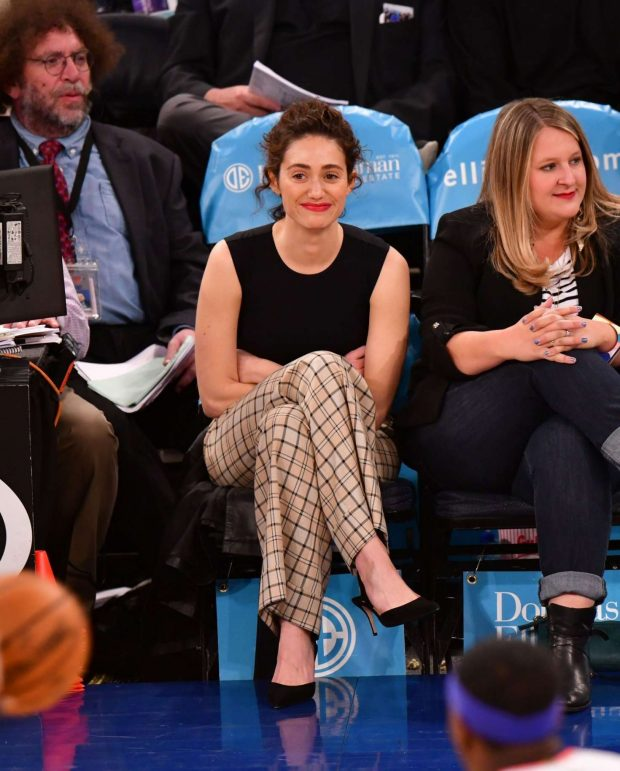 Emmy Rossum - Detroit Pistons v New York Knicks game in NYC