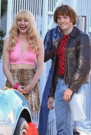 Emmy Rossum - Filming a scene for Angelyne in Los Angeles