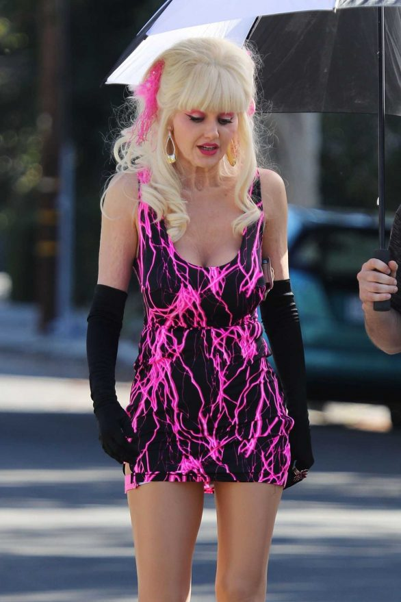 Emmy Rossum - Filming as the iconic 'Angelyne' in Los Angeles