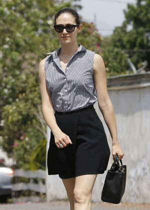 Emmy Rossum in Black Mini Skirt Out in LA