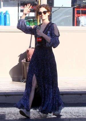 Emmy Rossum in Blue Dress Out in Los Angeles