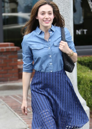 Emmy Rossum in Blue Skirt Out in West Hollywood