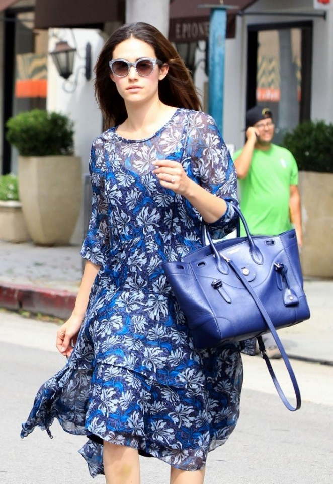 Emmy Rossum in Dress Out in Beverly Hills