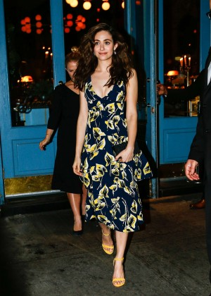 Emmy Rossum in Floral Dress at Sadelle's in New York