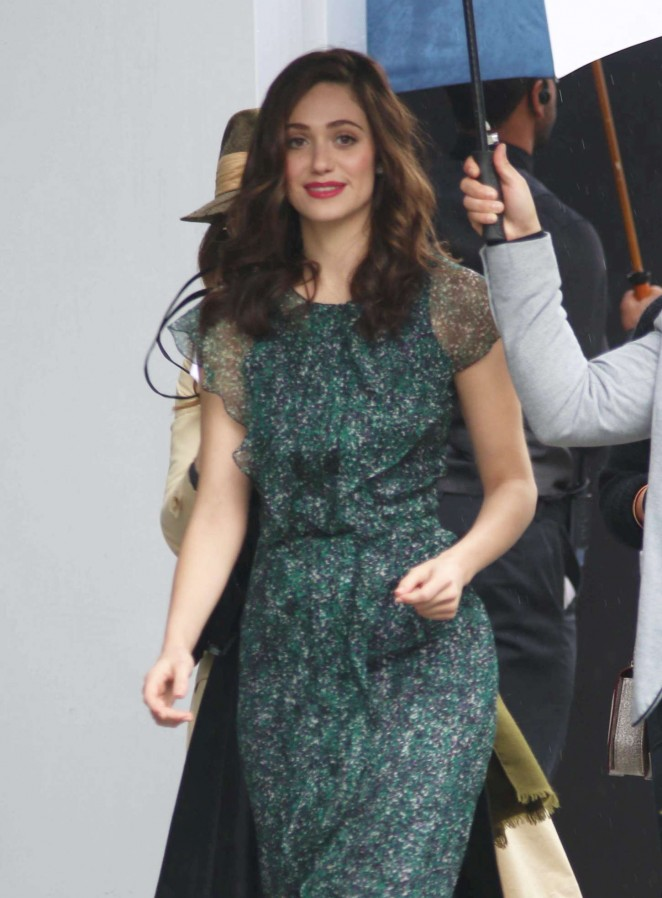 Emmy Rossum in Green Dress Out in West Hollywood