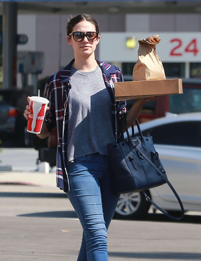 Emmy Rossum in Jeans at Hugo's Tacos in Sherman Oaks