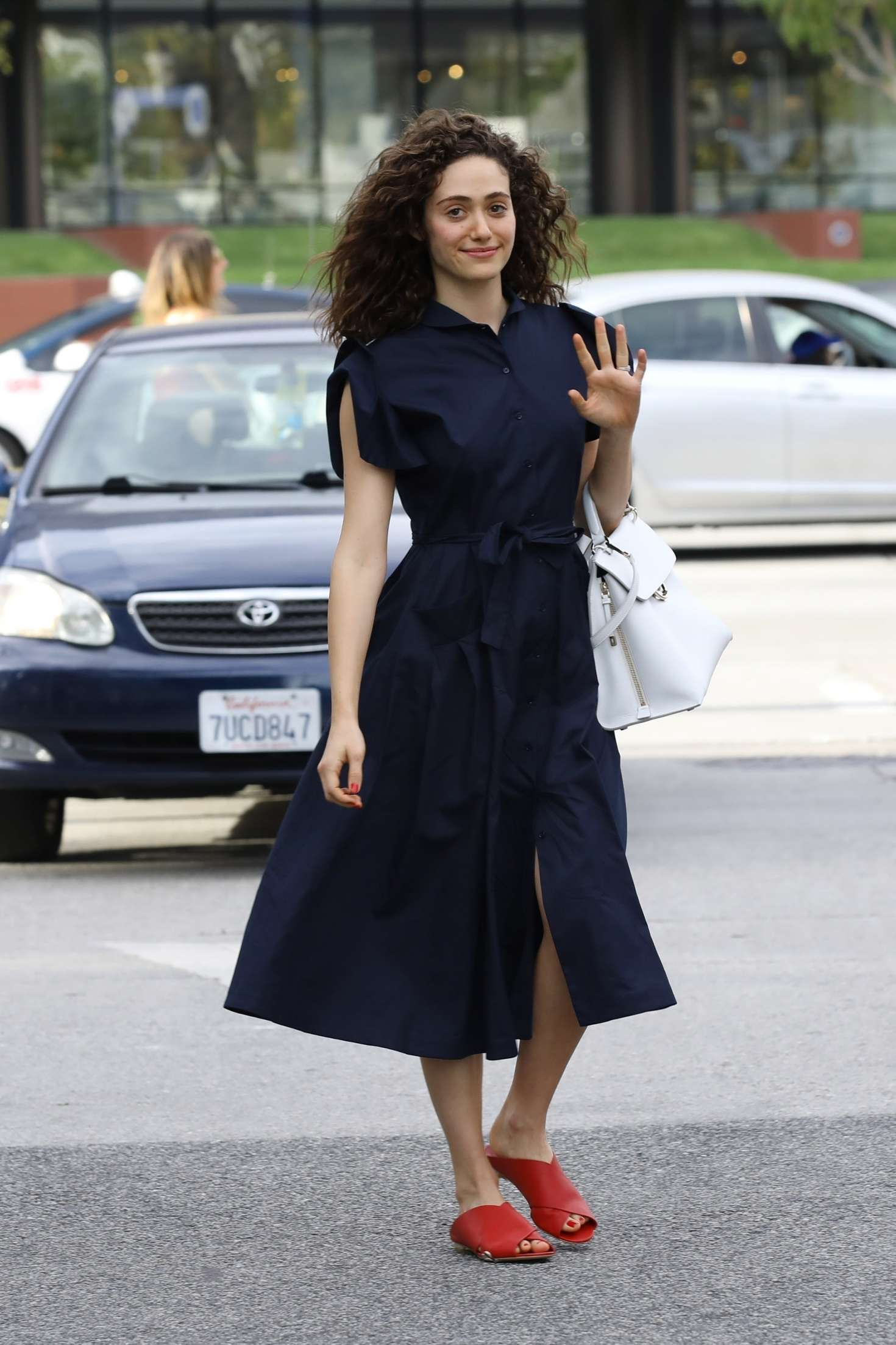 Emmy Rossum in Long Dress at Zinque Cafe in West Hollywood