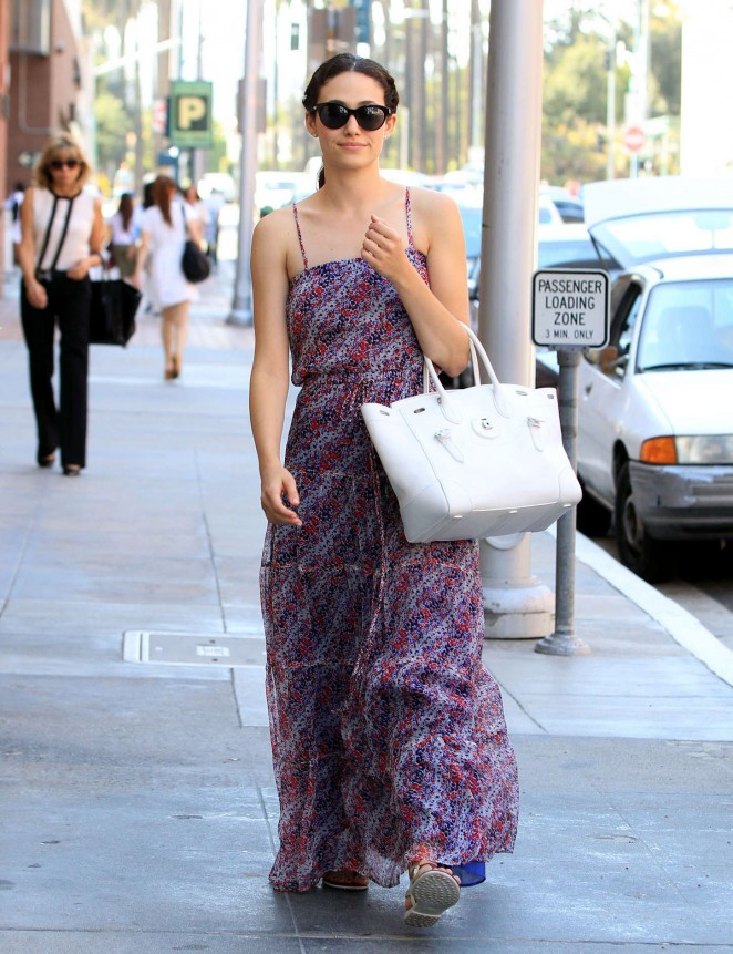 Emmy Rossum in Long Dress Out in Beverly Hills
