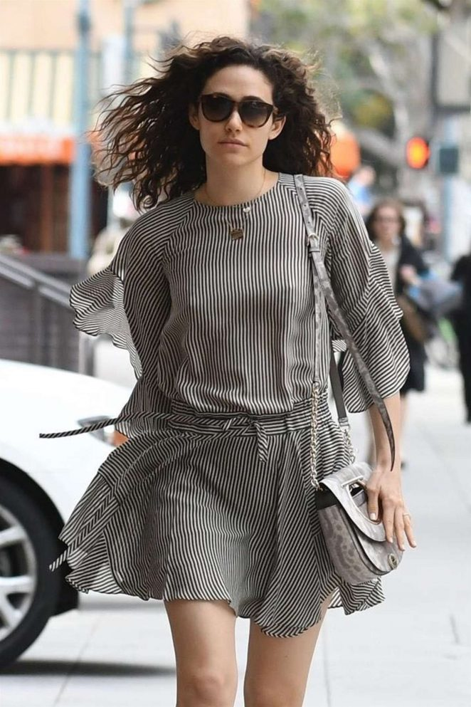 Emmy Rossum in Mini Dress - Leaves a medical building in Beverly Hills