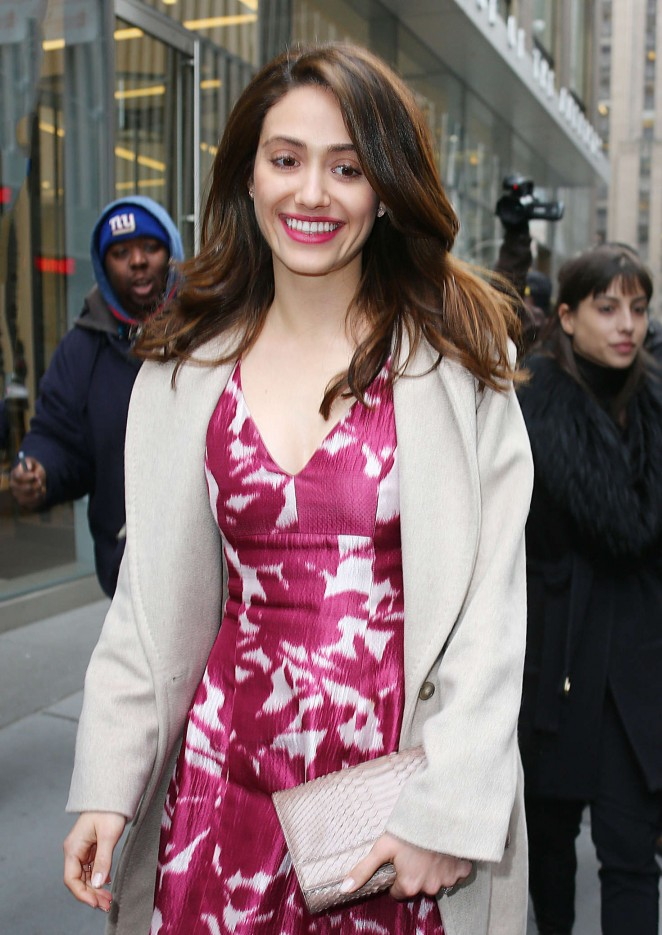 Emmy Rossum in Red Dress out in NYC