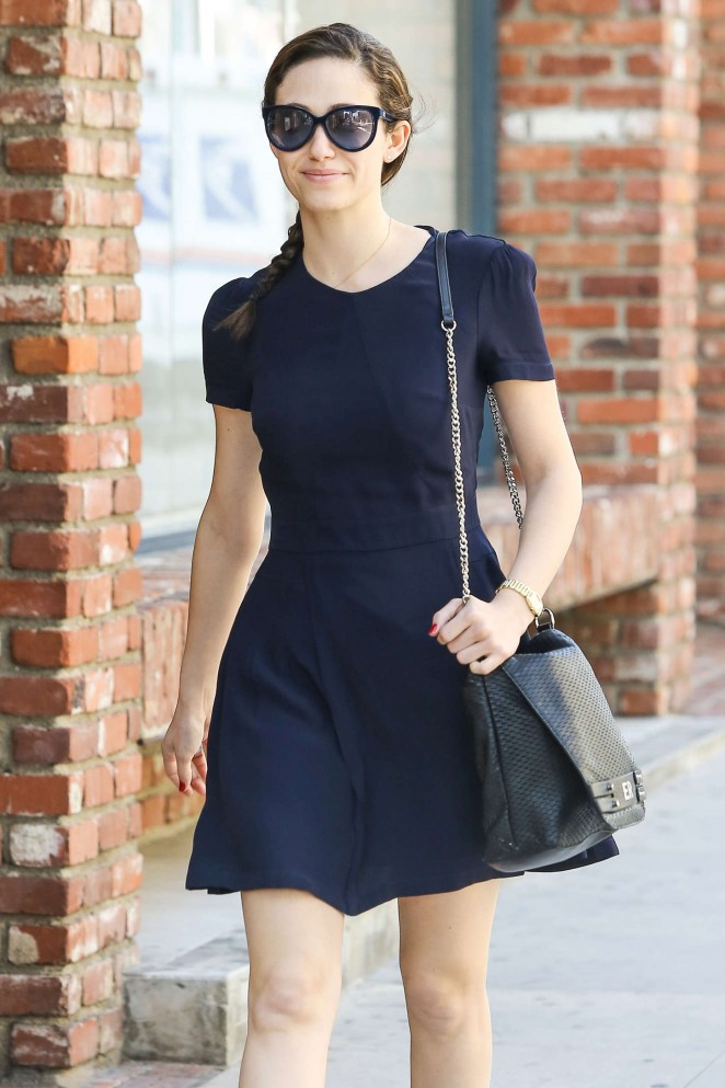 Emmy Rossum in Short Dress Out in Beverly Hills