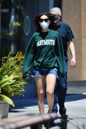 Emmy Rossum in Shorts - Stop at coffee bean in West Hollwood