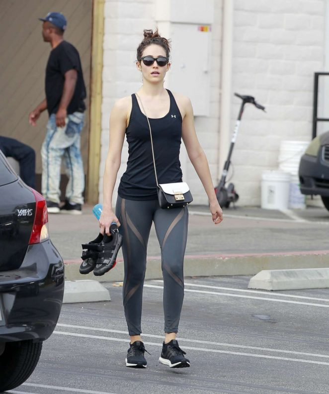 Emmy Rossum - Leaves SoulCycle Gym in Brentwood