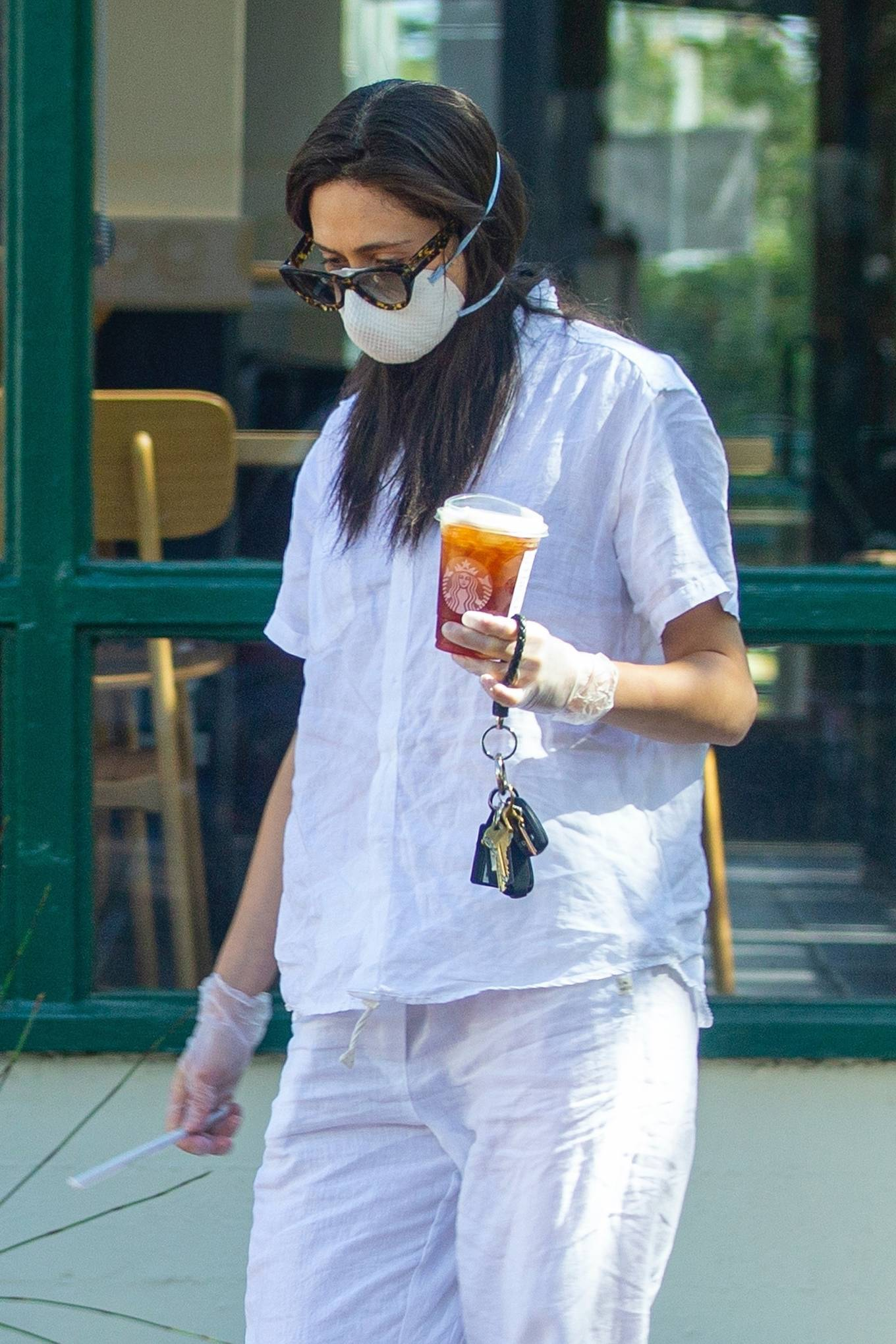 Emmy Rossum - Leaves Starbucks in Malibu